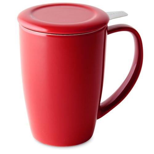 FORLIFE Curve Große Teetasse mit Teesieb und Deckel, 425 ml, Rot