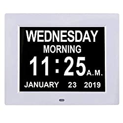 TMC [Newest Version 8 Inch Digital Calendar Day Clock - Extra Large Non-Abbreviated Day&Month Impaired Vision Memory Loss Clock with 12 Alarm Options for Seniors, Elderly, Dementia, Alzheimer
