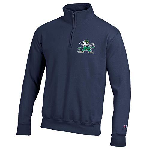 Champion NCAA Herren Powerblend Cotton Poly 1/4 Zip Pullover, Herren, Notre Dame Fighting Irish-Navy, Large
