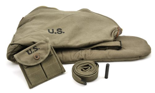 World War Supply US WW2 M1 Carbine OD Fleece Lined Carry Case, Sling with Oiler and Buttstock Pouch Dark OD Marked JT&L 1944