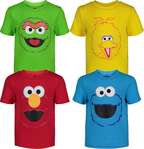 Sesame Street Toddler Boy Girl 4 Pack T-Shirts Elmo Oscar Big Bird Cookie Monster (2T)
