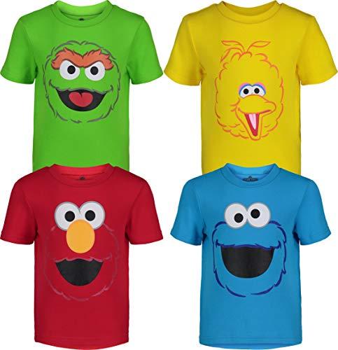 Sesame Street Toddler Boy Girl 4 Pack T-Shirts Elmo Oscar Big Bird Cookie Monster (18-24M)