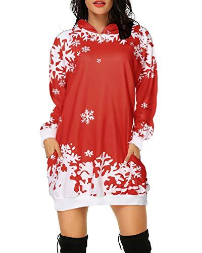 Auxo Felpe con Cappuccio Donna Manica Lunga Pullover Stampa Felpa Lunga Natalizia Elegante Moda Hoodie Casual Autunno Invernale 07-Rosso 3XL