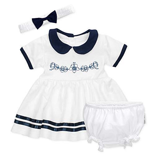 Baby Sweets 3er Babyset mit Kleid, Pumphose & Baby-Haarband/Newborn Babykleidung Mädchen in Weiß & Blau/Erstausstattung Baby Kleid/Taufkleid für Neugeborene & Kleinkinder Größe 9-12 Monate (80)