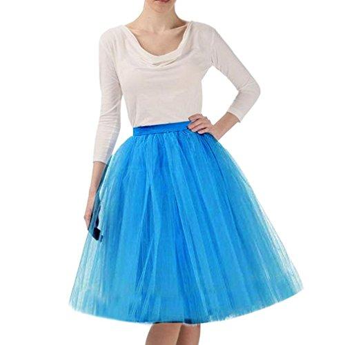 CoutureBridal® Falda ala rodilla de 5 capas Cintura elástica Tutu Princess Tulle azul oscuro EU40-42