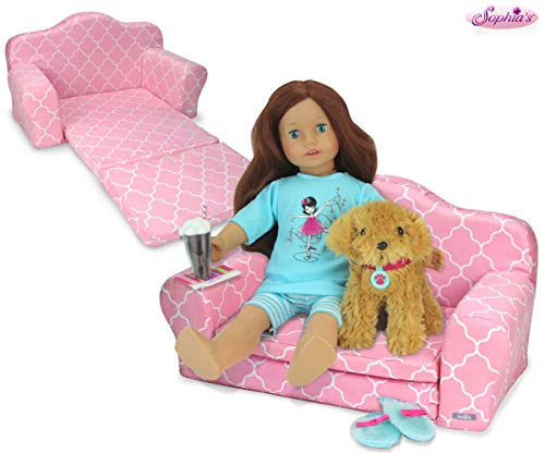 Sophia's 2-in-1 Pink Doll Furniture Pull Out Sofa Bed Plush Couch for Dolls Converts to Double Bed