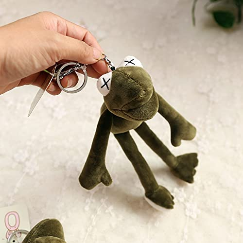 heshuo Pluff Funny Cartoon Frog Felpa Llaveros Anillos Llavero Colgante Suave Peluche Animal Juguete Niños