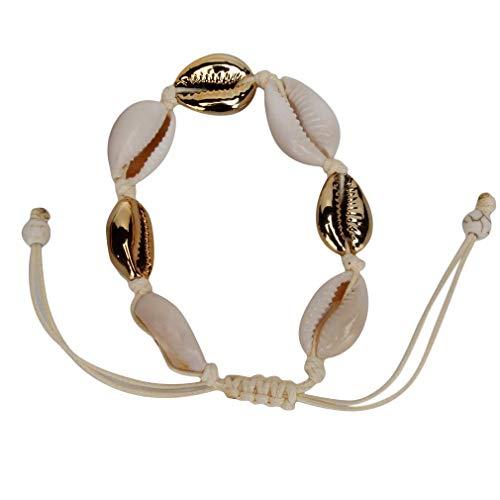 Lounayy Shell Fußkettchen Verstellbare Boho Conch Armband Basic Mode Beach Fußkette Gold Sale Home Täglich Gebrauch Produkt (Color : Goldxwhite, Size : Size)