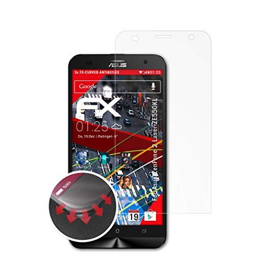 atFolix Schutzfolie passend für Asus ZenFone 2 Laser ZE550KL Folie, entspiegelnde & Flexible FX Bildschirmschutzfolie (3X)
