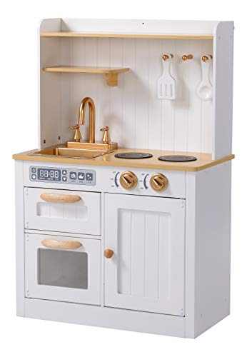 Hooga Toy Kitchen, Wooden Play Kitchen with Realistic Oven, Storage...