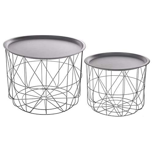 Lote de 2 mesas nido de café con bandejas movibles - Diseño y Modero - Color GRIS