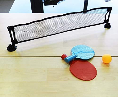 Framan Mini Set de Ping Pong en Miniatura para el Escritorio con 2 Palas roja y Azul, Pelota de Ping Pong, Red y Funda para Transporte