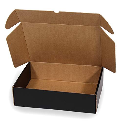 Kartox | Boîte en carton noire pour expédition postale | Boîte auto-assemblable idéale pour cadeau | Boîte en carton solide | Taille L | 30x22x8 | 20 unités