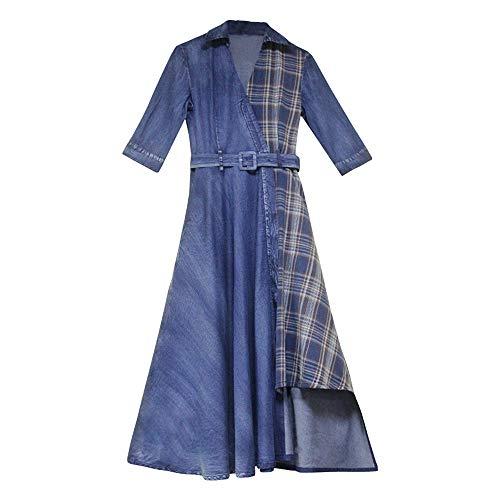 XCBW Vestido de Mezclilla Irregular Retro para Mujer de Europa y América Summer Lady Check Splice Denim Skirt, para Vestido de Novia de Fiesta Informal, Vestido de cóctel,XXL