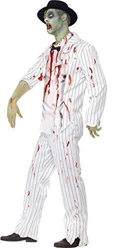 SMIFFYS Bianco, Grande - Giacca Zombie Gangster Costume, Pantaloni, Top con Latex Pezzi e Papillon di Smiffy
