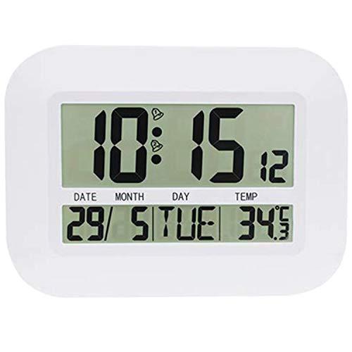 Varadyle Reloj de Pared Digital Funciona con Pilas Reloj Despertador LCD Grande y Simple Temperatura Calendario Fecha DíA para la Oficina Casa
