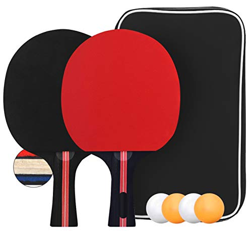 Set de Tennis de Table, Set de Raquette de Ping Pong avec 2 Raquettes et 4 balles dans Un Sac idéales pour Débutants et Joueurs Avancés Les activités de Plein air en intérieur
