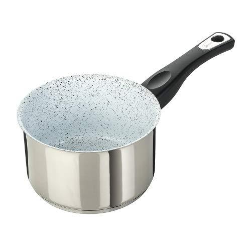 Genius Cerafit Mont Blanc Stielkasserolle Ø 16 cm mit Antihaft-Beschichtung - Kochtopf mit besten Ergebnissen induktionssgeeignet cooking pot Edelstahl-Topf