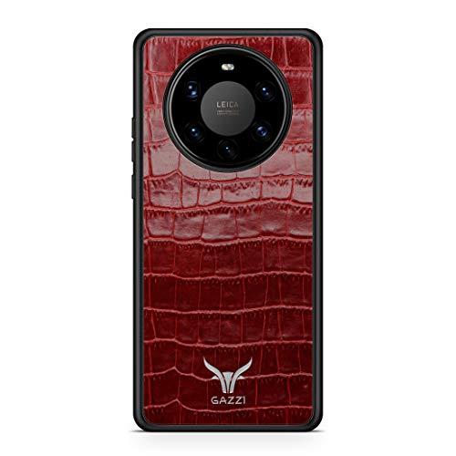GAZZI Lederhülle für Huawei Mate 40 PRO Hülle Hülle Schale Backcover Handyhülle Schutzhülle Echt Leder, R&umschutz, Flexible Schale (Kroko Rot Silber)