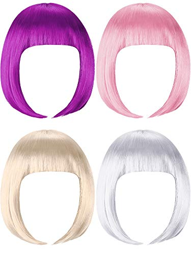 4 Pieces Short Bob Hair Wigs Costume Colorful Cosplay Wig Daily Party Hairpiece for Women Girls Decoration (Purple, Light Pink, Light Gold, White)