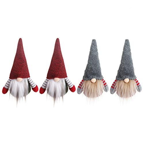 yinuiousory 4 Teile/Satz Weihnachten Handgemachte Schwedische GNOME Santa Plüsch Puppe für Weihnachten