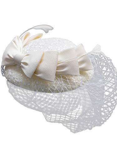 Selfieee Voile Mariage Femme Vintage Coiffure Chapeau Béret avec Bowknot Déco Accessoire de Cheveux Soirée de Fête Blanc one size