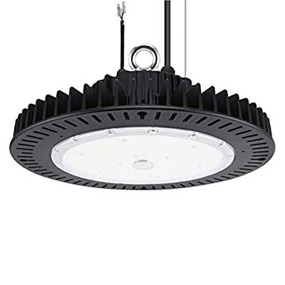 LED High Bay Light, 200 Watt UFO LED Warehouse Light Fixture, 350-800 Watt HID Equivalent, Dimmable, IP65 Waterproof, 5000K Daylight, 100-277V Input, UL & DLC Listed for Commercial Applications