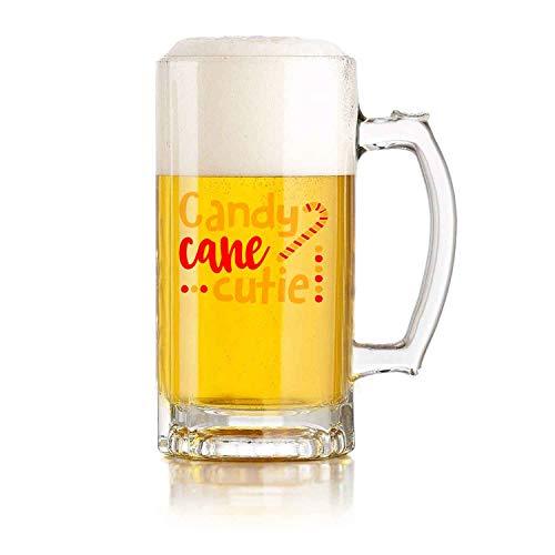 Jarra de cerveza de vidrio Candy Cane Cuties, de Navidad para amigos, familia, 16 oz