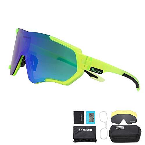 BRZSACR Gafas de Sol Deportivas polarizadas Protección UV400 Gafas de Ciclismo con 3 Lentes Intercambiables para Ciclismo, béisbol, Pesca, esquí, Funcionamiento (Verde)