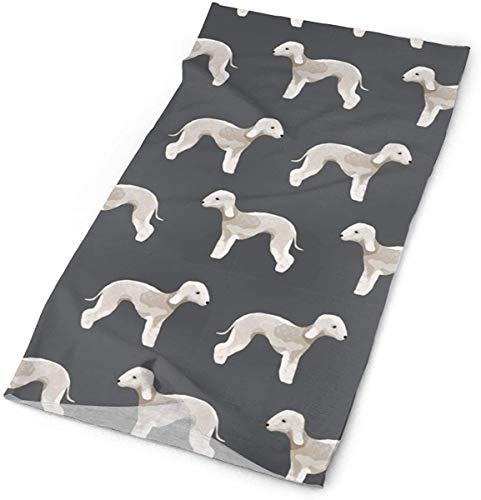 NA Bedlington Terrier Stof Honden Huisdier Ontwerp - Houtskool Hoofdbanden Bandana Cap Sjaal Gezicht Masker Hals Hoofddoek Zon UV Bescherming