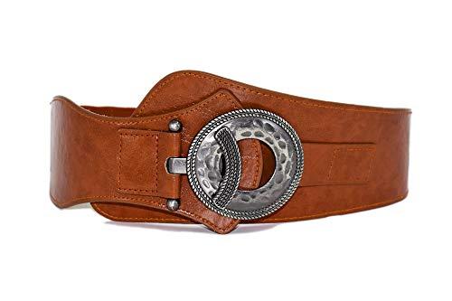 TeeYee Damen Mädchen PU Leder Vintage Oval Schnalle Gürtel Einfarbig Breite Elastische Gürtel Tailleband (L, braun)