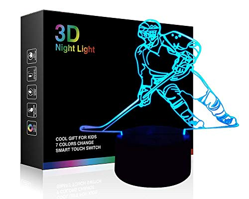 Hockey Night Light, Ticent Hockey Player 3D Lamp Lighting for Kids 7 LED Color Changing Touch Table Desk Lamps Cool Toys Gifts Birthday Xmas Decoration for Sports Hockey Fan