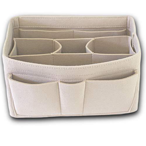 Handtaschen-Organizer – 2 in1 Filz Geldbörse Organizer Einsatz mit Innentasche mit Reißverschluss - Taschen Organisator - Taschenorganizer Handtasche - Beige Mittel