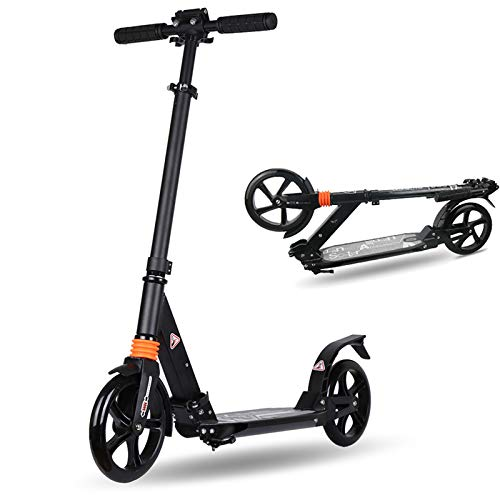 cdsnxore Adult Kick Scooter Big Wheels Folding Adjustable Tall Handle Bars Disc Brakes Supports 220lbs for Teens/Adults (Black)