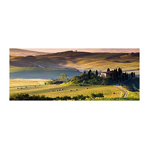 Tulup Glas-Bild Wandbild aus Glas - Wandkunst - Wandbild hinter gehärtetem Sicherheitsglas - Dekorative Wand für Küche & Wohnzimmer 125x50 - Landschaften - Toskana Italien - Grün