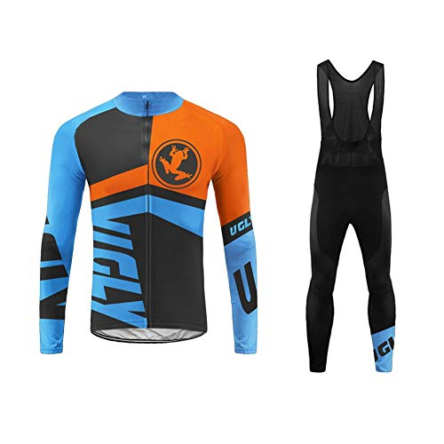Uglyfrog Mens Cycling Jersey, Thermal Long Sleeve, Full Zipper, Fleece, Breathable, Cold Wear Suits Sets Bodies MTB Mountain Bike Racing Sportswear