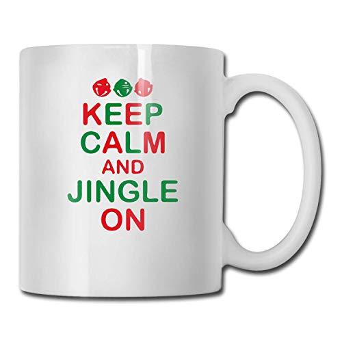 11-Unzen-Kaffeetasse behalten ruhigen Klingel auf weißem keramischem Tee-Schalen-Neuheits-Feiertags-Weihnachtshanukka-Geschenk