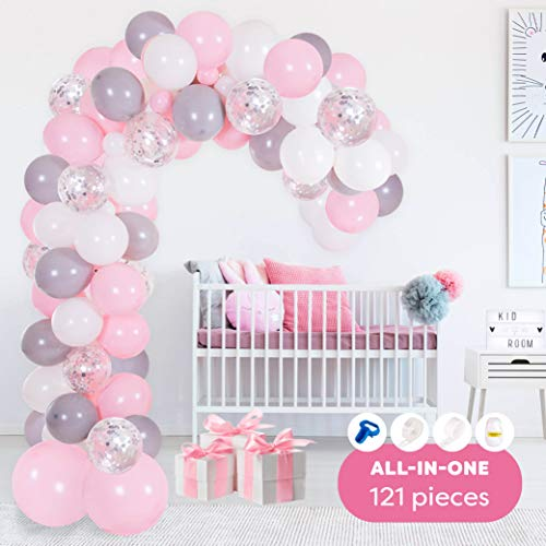 PartyBro Ballon-Girlande- & Bogen-Set | Luftballons Rosa, Weiß, Grau & Silber, Binde-Werkzeug, Ballon-Band-Streifen & Klebe-Punkte | Dekoration für Babyparty, Geburtstag, Taufe | für Mädchen & Frauen