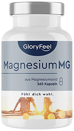 Magnesium - 365 Kapseln (1 Jahr) - 667mg, davon 400mg elementares (reines) Magnesium pro Kapsel - Vegan & Hochdosiert - Laborgeprüft ohne Zusätze in Deutschland hergestellt
