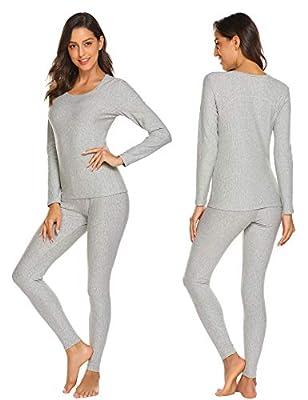 Ekouaer Womens Cotton Thermal Underwear Long Johns Winter Set Fleece Lined,Lgt,Medium