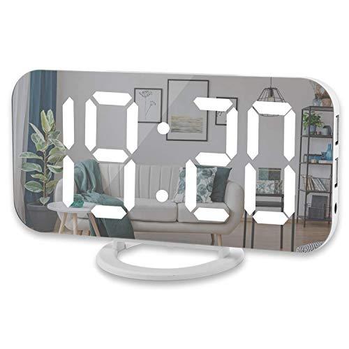 Suading Reloj Despertador Digital, Pantalla Led Grande De 6 Pulgadas con Puertos Duales De Cargador USB Modo Auto Regulable Función, Reloj De Pared De Escritorio De Espejo Moderno
