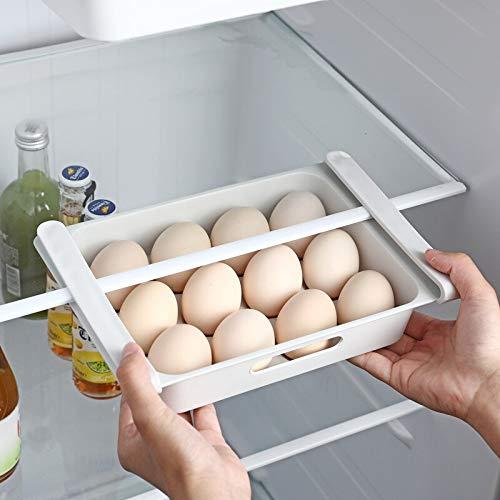 Contenedores de almacenamiento de alimentos con tapas, nevera, caja de almacenamiento para guardar alimentos, cajón de almacenamiento de alimentos, bandeja de huevos (gris claro, 1 nivel)