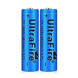 18650 batería de litio recargable batería recargable 9800 MAH 3,7 V carcasa de acero inoxidable de gran capacidad luz fuerte linterna faro pequeño ventilador (2 PCS)