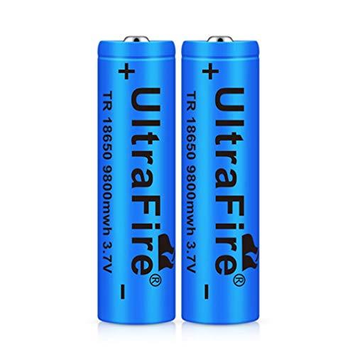 18650 Batería Recargable 3.7 9800mwh(2600mah) Azul Litio BateríA Recargable De Iones De Litio 3.7v Pilas Recargables 18650 Alto Rendimiento BotóN De La BateríA Superior Para Linterna 18650 (2 piezas)