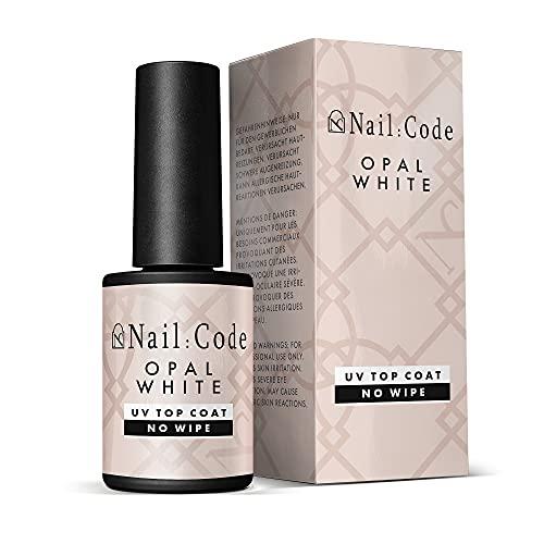 NailCode OPAL WHITE No Wipe UV Top-Coat Nagellack UV Glanzgel ohne Schwitzschicht in der hochwertigen Pinselflasche hochflexibles versiegelungsgel ohne schwitzschicht