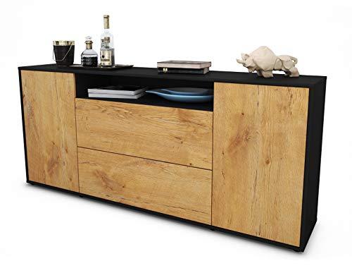 Stil.Zeit Sideboard Erina/Korpus anthrazit matt/Front Holz-Design Eiche (180x79x35cm) Push-to-Open Technik