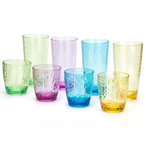 Hammered 15-ounce and 26-ounce Plastic Tumbler Acrylic Glasses, set of 8 Multicolor