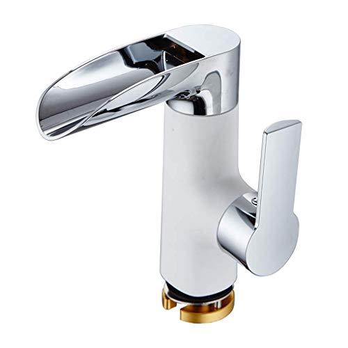 Waschbecken Waschbecken Spültischarmatur Bad Armatur Integral Rotierenden Heiß u Kaltwasser Sprinkler Wasserhahn-Anti-Splash (Farbe : White)