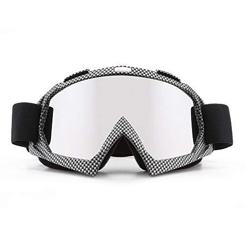 SPOSUNE Motorradbrille, ATV Dirt Bike Off Road Racing MX-Fahrbrille Anti-Scratch Staubdicht Biegbar UV400 Brille Gepolstert Weicher Dicker Schaumstoff, Verstellbarer Riemen Erwachsenen-Motocross