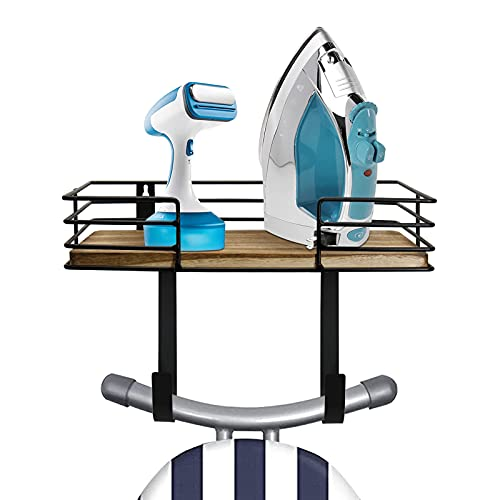 Irhisaby Ironing Board Hanger Wall Mount, Laundry Room Iron and Ironing Board Holder with Large Storage Basket and Removable Hooks, Metal Wall Mount Ironing Board Holder with Shelf for Laundry Room